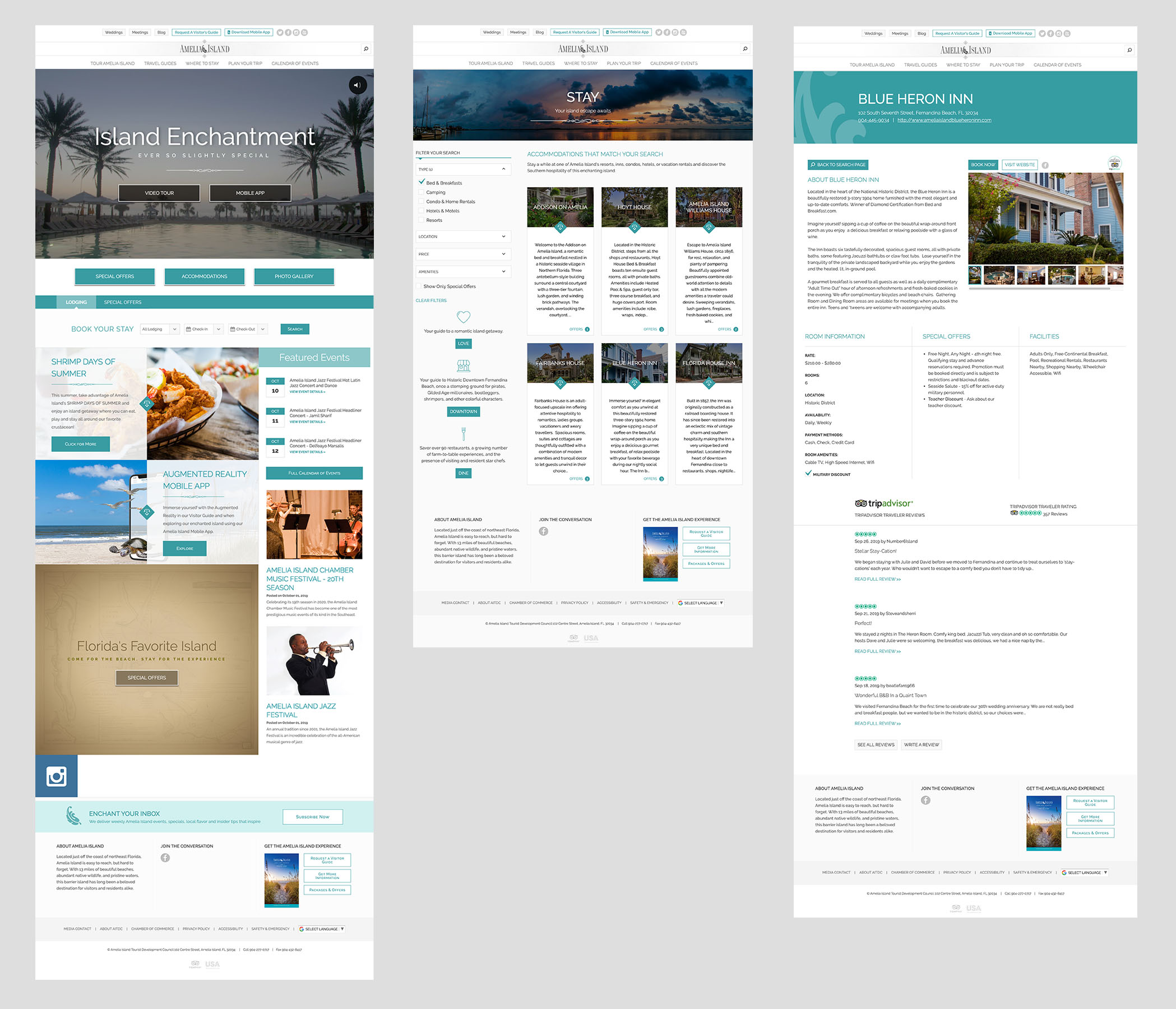 Amelia Island Homepage, Search and Detail page.