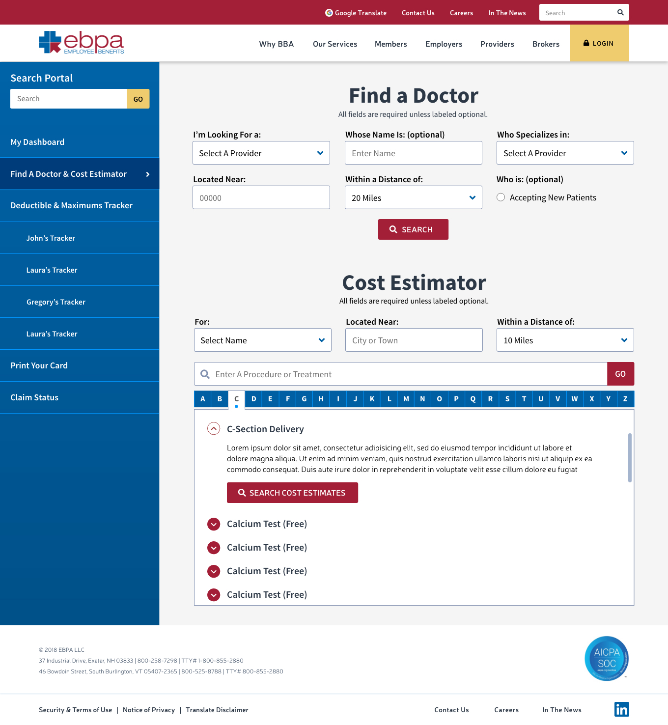 EBPA Portal Find a Doctor and Cost Estimator  – proprietary content removed