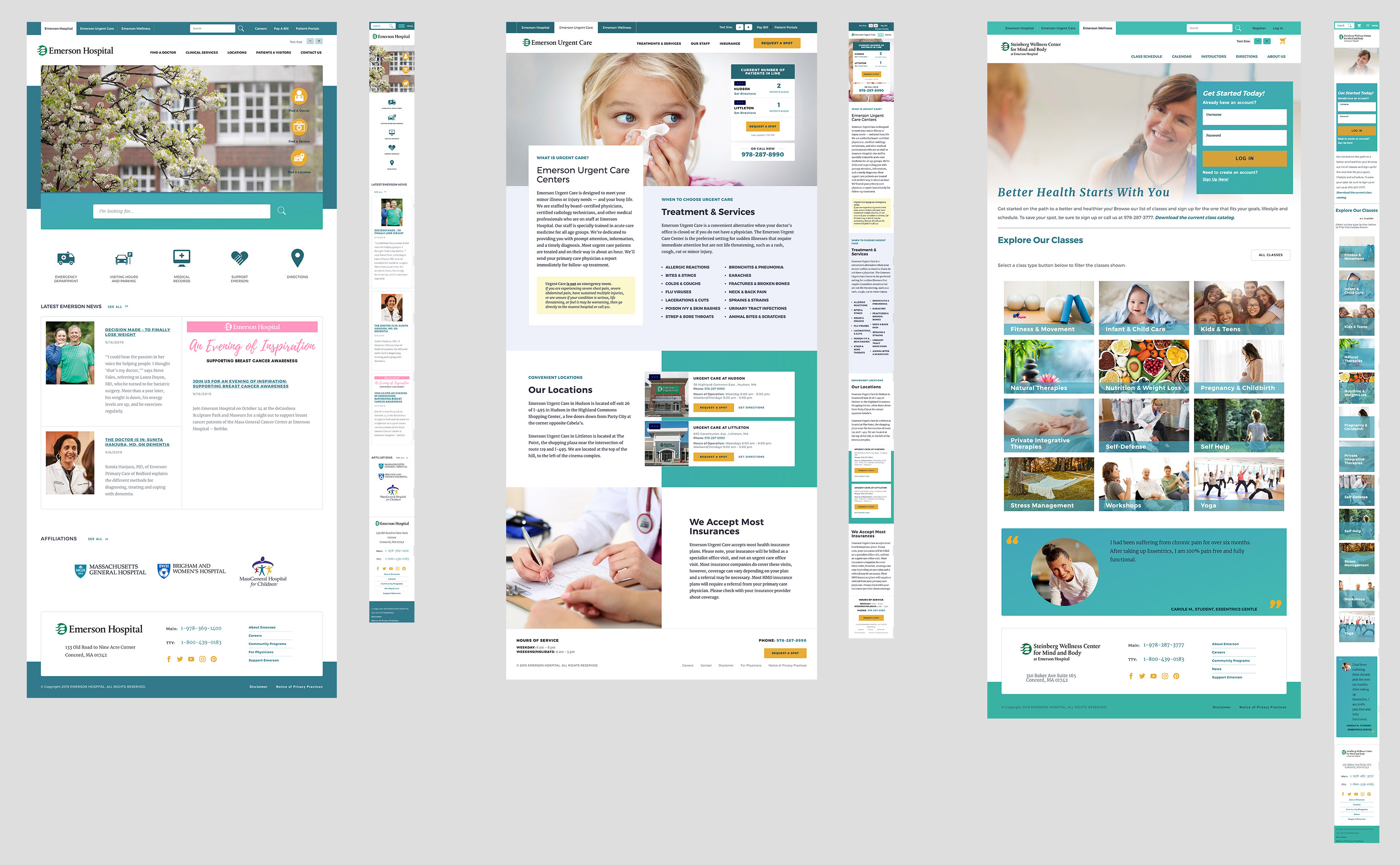 Homepage designs and their mobile views for the Emerson Hospital main site, Emerson Wellness Center and Emerson Urgent Care.