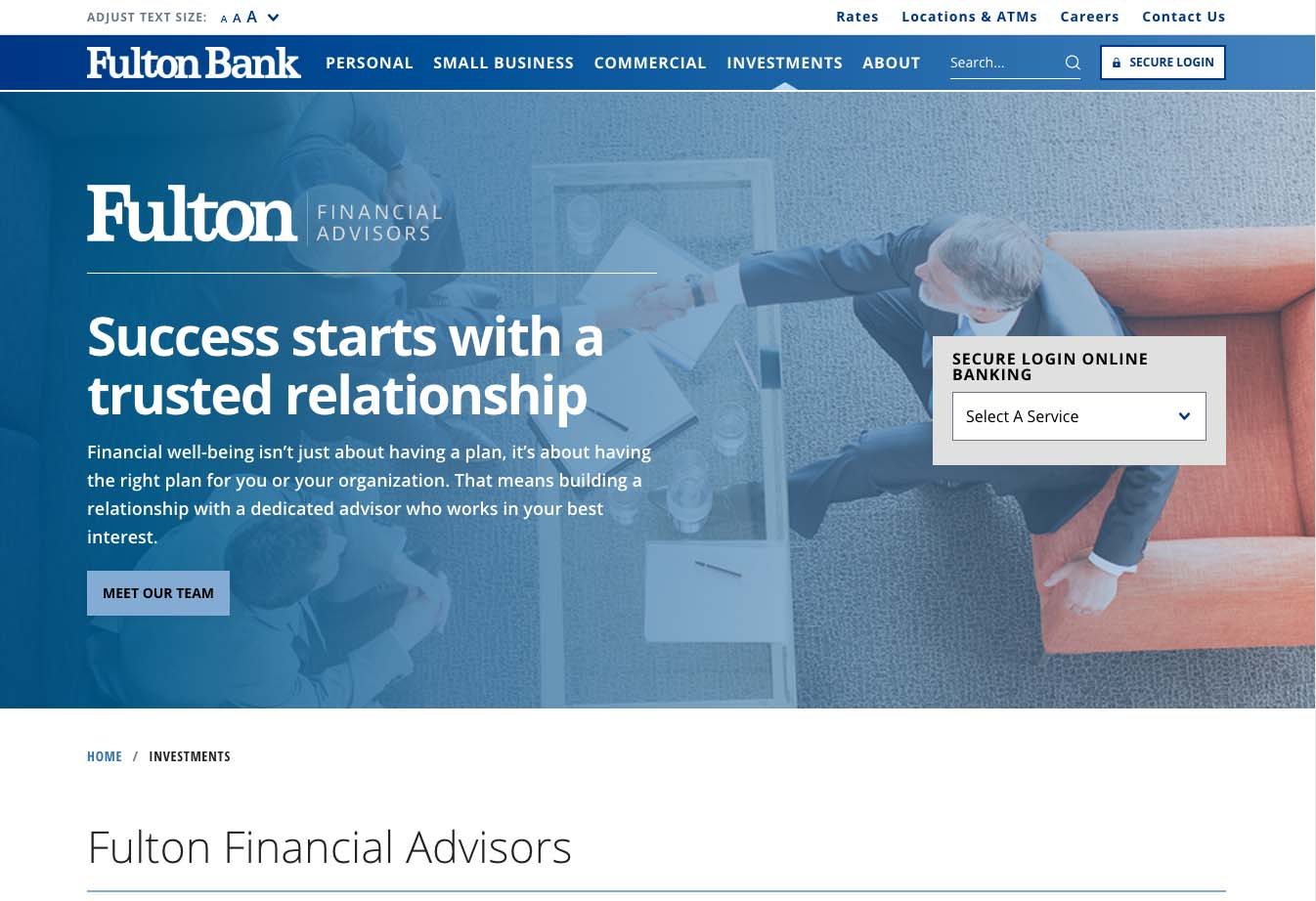 Part of Fulton Financial Advisors homepage design.