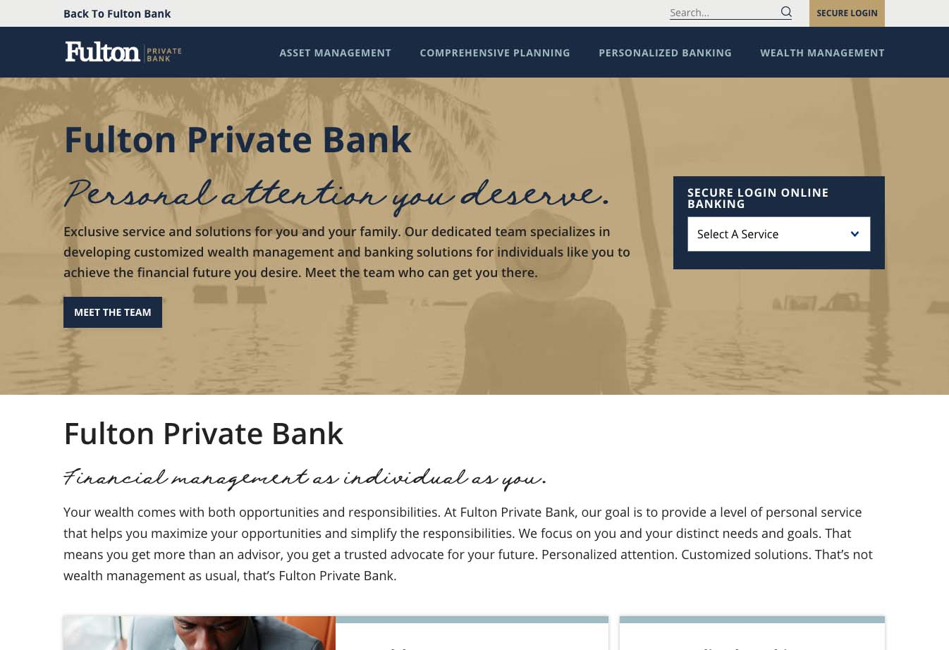 Part of Fulton Private Bank homepage design.