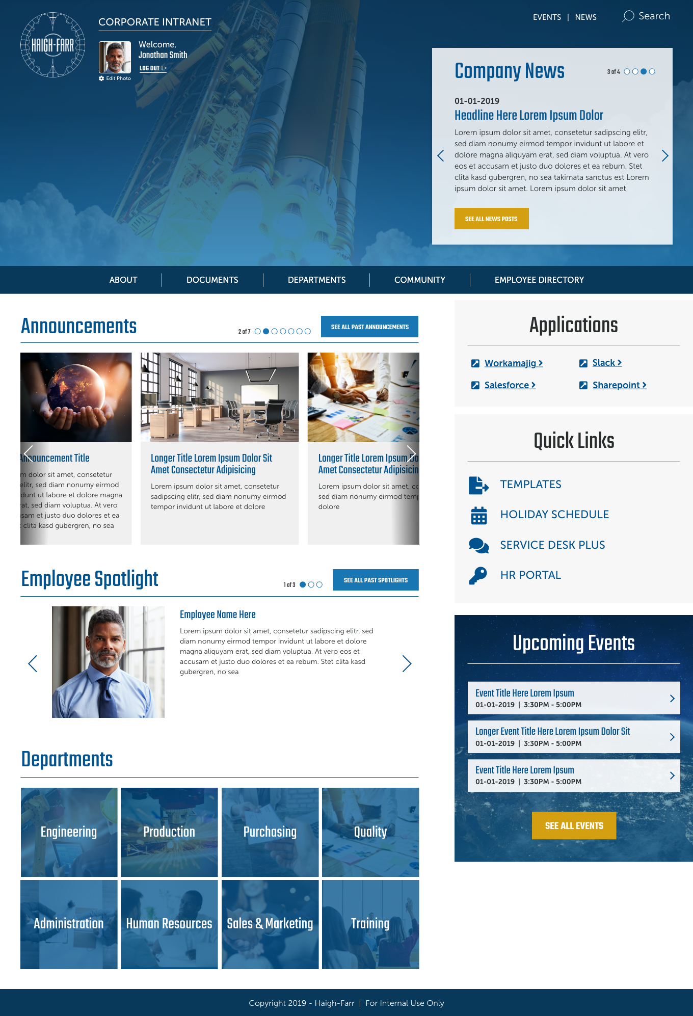 Haigh Farr Intranet Homepage  – proprietary content removed