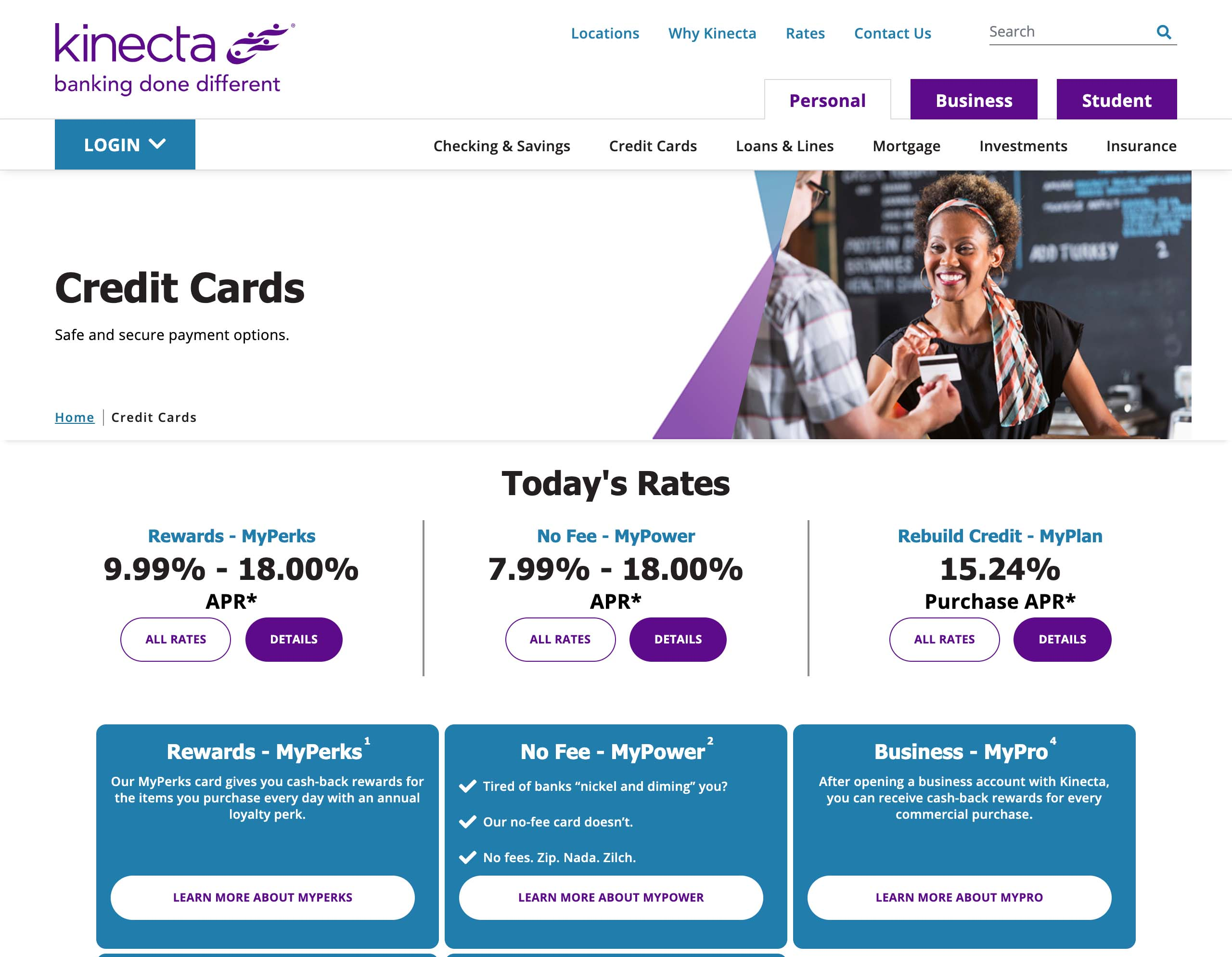 Kinecta Federal Credit Union Credit Cards page