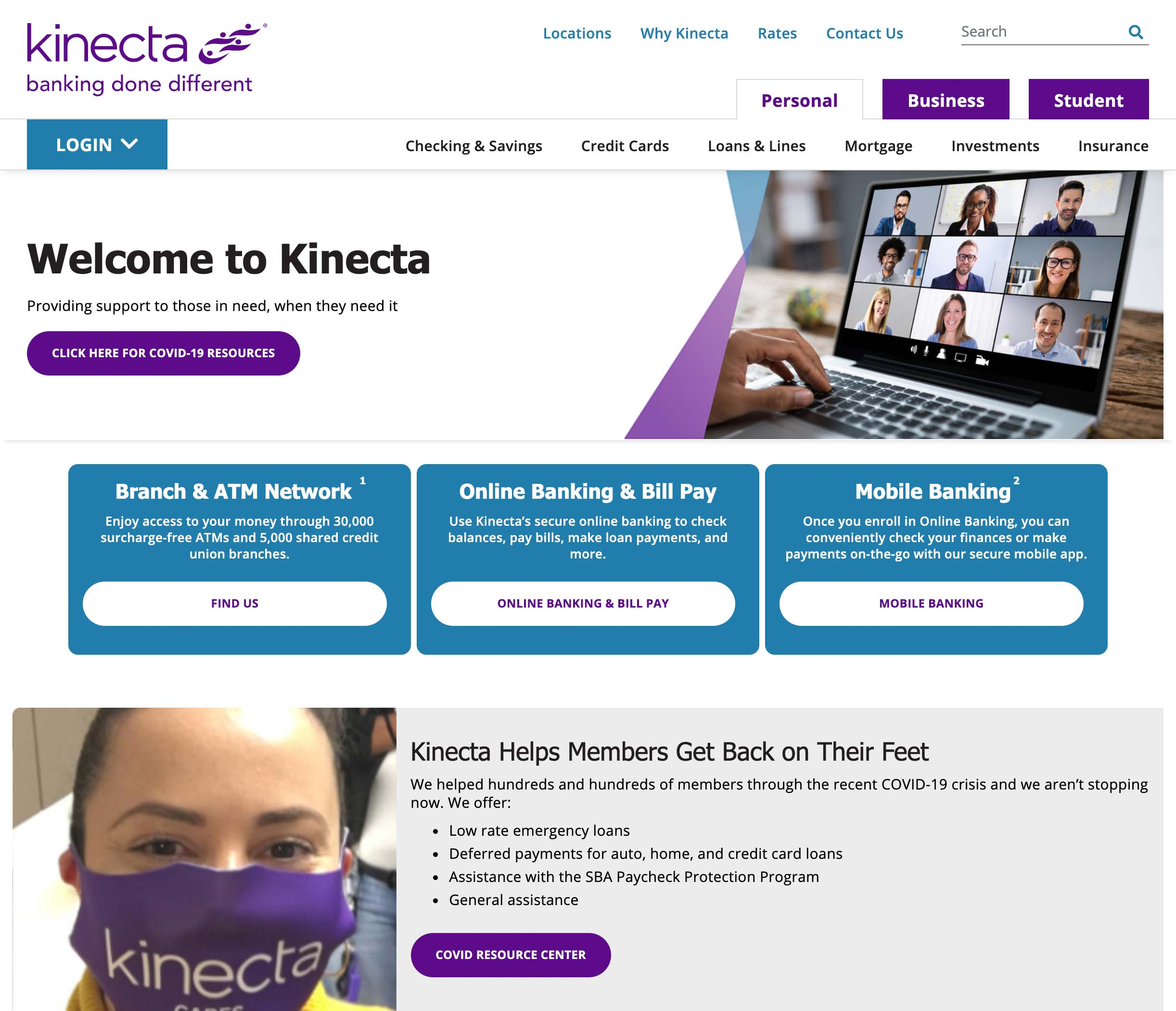 Kinecta Federal Credit Union Homepage on Desktop