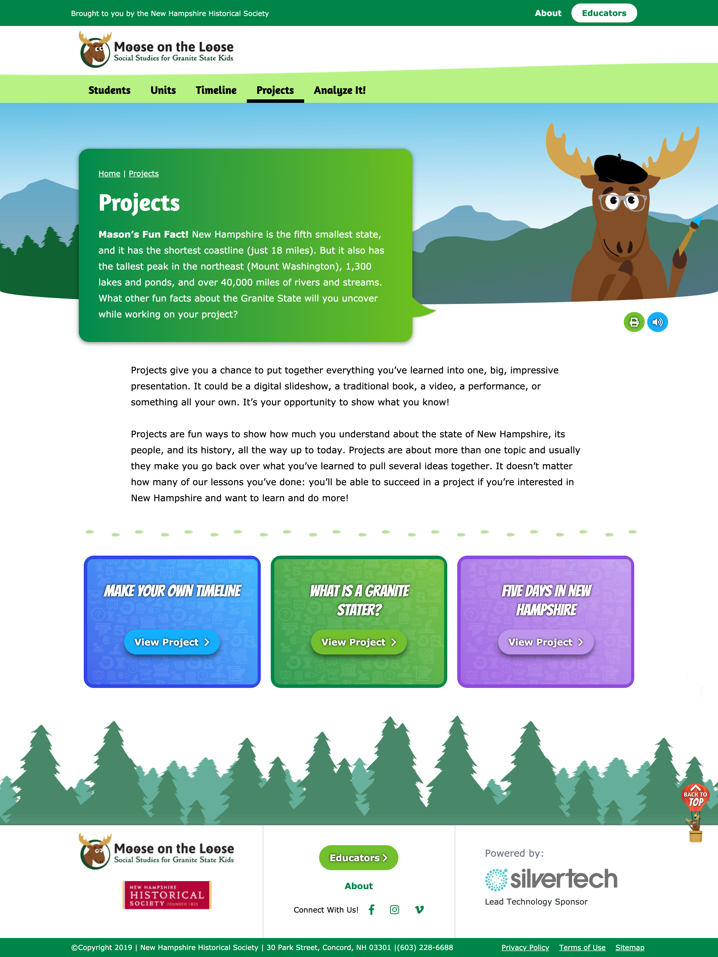 Projects landing page.