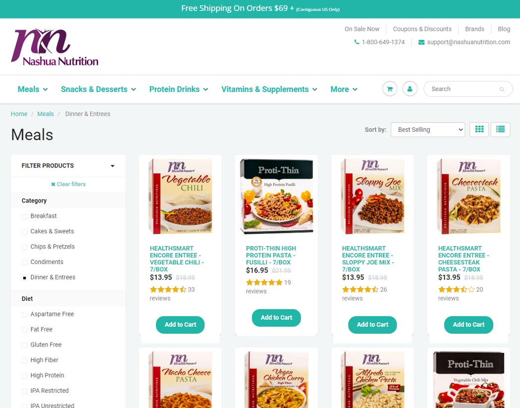 Nashua Nutritions Product Listing Page