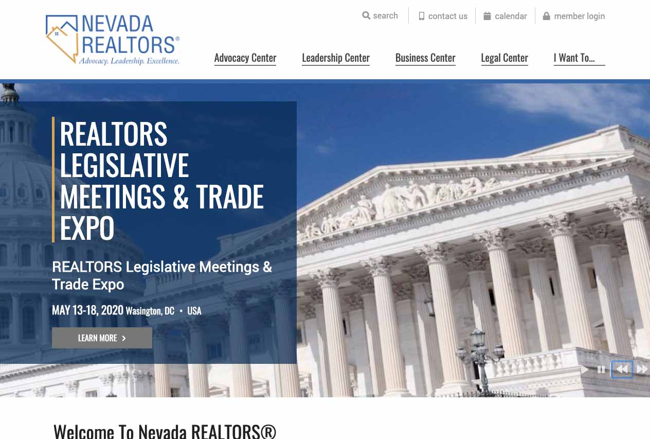 Nevada Realtor's homepage hero banner.